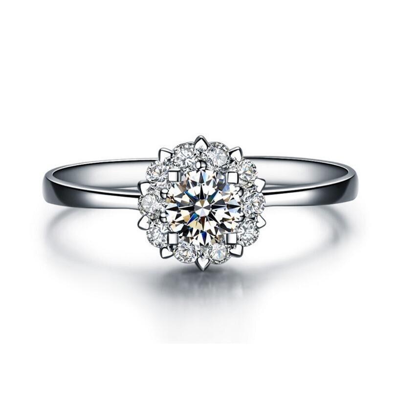 Di nuovo Modo di 0.5 Carati Fiore Anello di Diamanti Femminile 925 Sterling Silver Anello Di Fidanzamento (JSA)Di nuovo Modo di 0.5 Carati Fiore Anello di Diamanti Femminile 925 Sterling Silver Anello Di Fidanzamento (JSA)