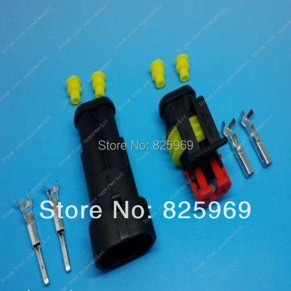 Free Shipping 10pcs 2Pin/way 2 Waterproof Electrical connector kit (Housing+Terminal+grommet+Other) for car boat ect.