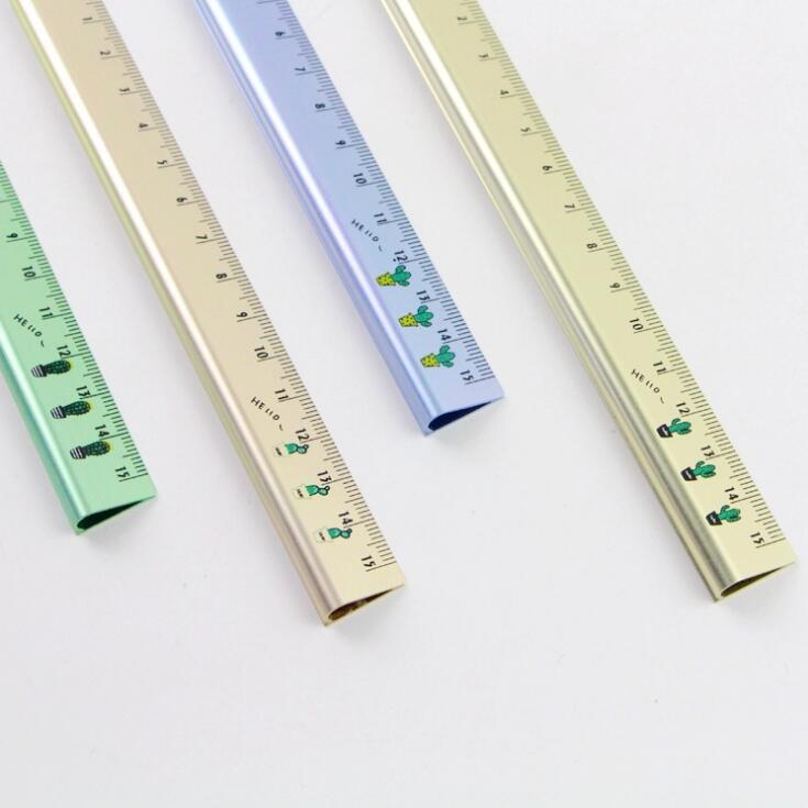 Pocket Cactus Trigone Aluminum Ruler Metal Ruler Measuring Straight Ruler Tool Promotional Gift Stationery