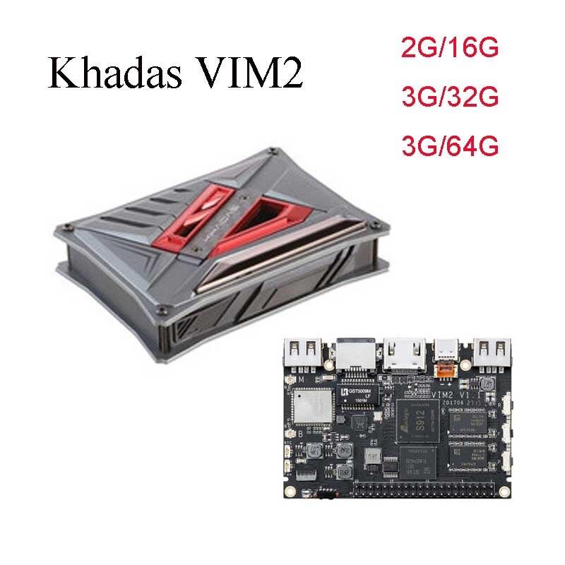 Khadas VIM2 Max Open Source Octa Core TV Box 2G/3G RAM DDR4 16G/32GB/64GB SBC 2x2 MIMO WiFi Amlogic S912 Android/Ubuntu TV Box