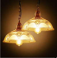 American Country Rustic Retro Loft Style Industrial Lamp Vintage Pendant Lights Fixtures Glass Shade Edison Lamparas