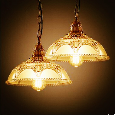 American Country Rustic Retro Loft Style Industrial Lamp Vintage Pendant Lights Fixtures Glass Shade Edison Lamparas Colgantes