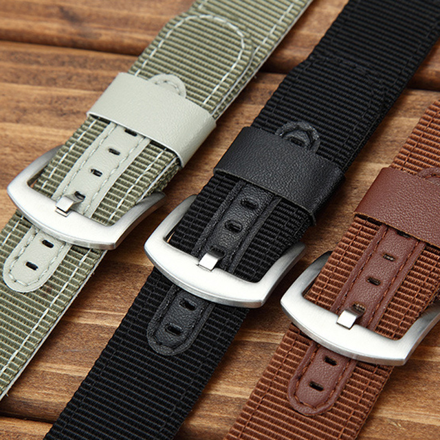 Casual Nylon and Leather mix Watch Band Watchband Strap 18mm 20mm 22mm 24mm Men