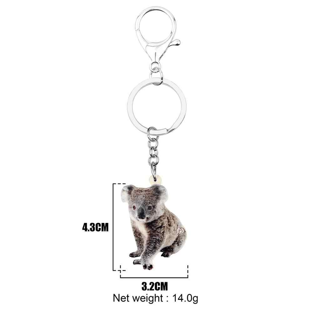 WEVENI acrílico Australia sentado Koala llavero divertido Animal joyería para mujeres niñas adolescentes encantos decoración de regalo