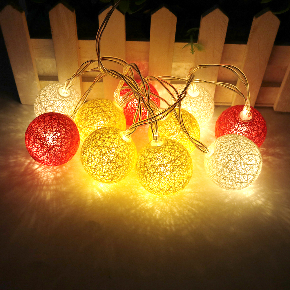 10leds holiday lights 35cm cotton ball led light string fairy garland 12m 5 series
