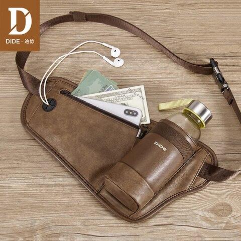 Copo de Água Alça de Ombro Dide Cintura Bolsa Pacote Casual Funcional Dinheiro Bolso Design Único Masculino Men