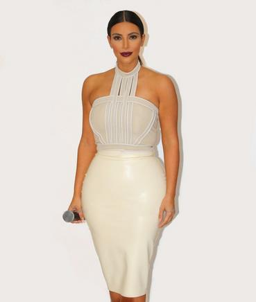 Celebrity Europe Style Summer Club Wear Halterneck High Quality Bodycon Fashion White Beige Bandage Dress Kim