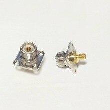 1pc UHF Female Jack To SMA  Female Jack  RF Coax Adapter Modem Convertor Connector  4-hole panel mount  Goldplated  wholesale