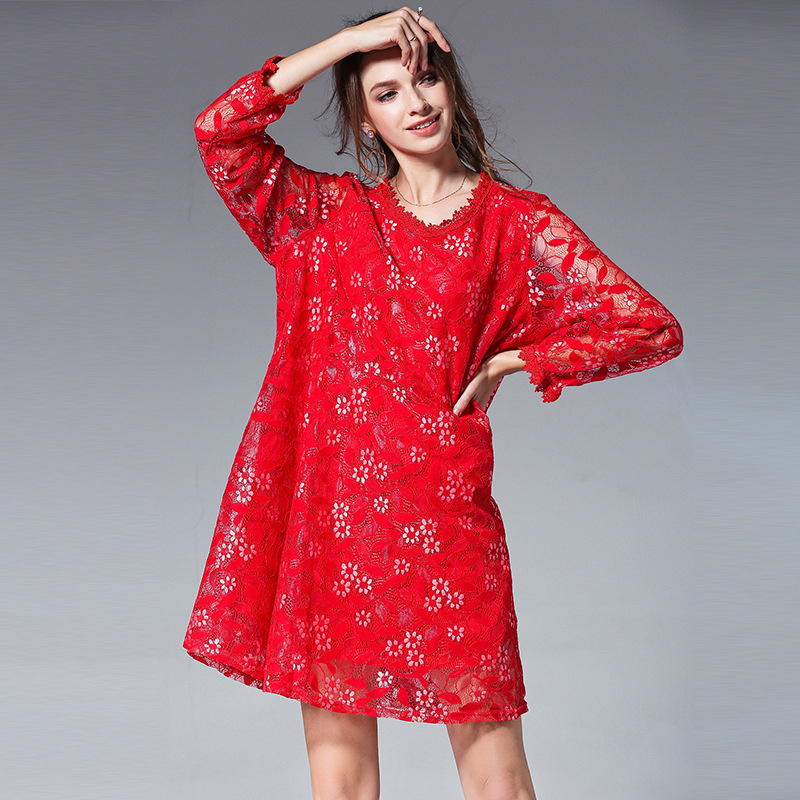 2018Spring fashion women long sleeves cute Lace Dress loose fit elegant  party beautiful dress temperament vestidos XL XXXXL 4XL-in Dresses from  Women s ... 4c4e0268ec4c