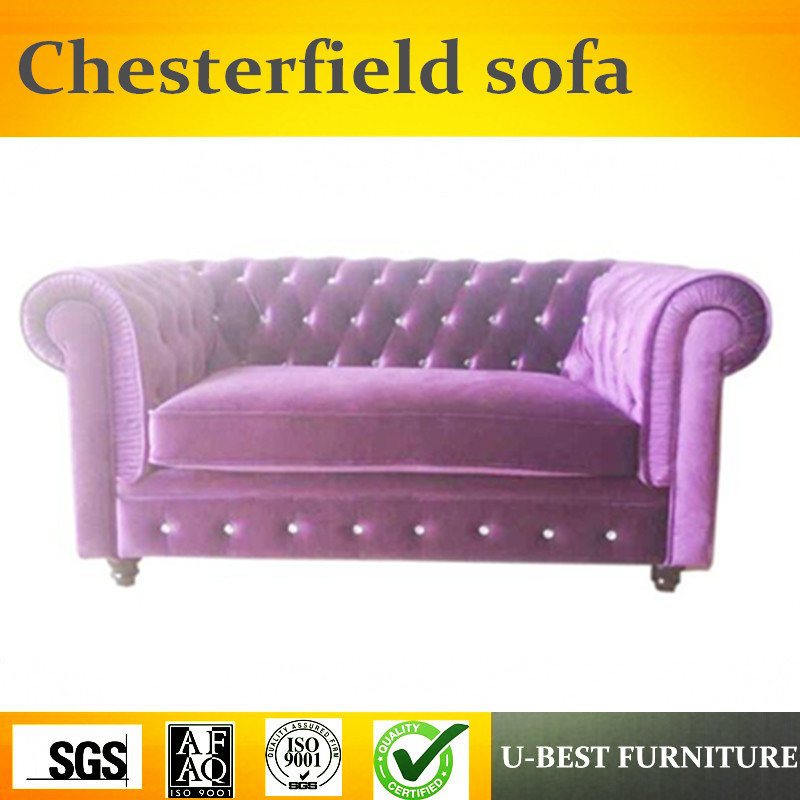 U-BEST Italy home furniture fabric sofa/living room furniture 2 seat chesterfield velvet sofa set image