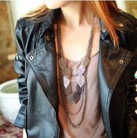 C053 accessories wholesale stray leaves the leaves multilayer Bohemian long necklace Sweater chain female 10pcs mix