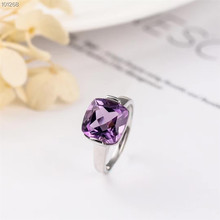 2019 hot sale new-designed 925 sterling silver natural purple crystal amethyst gemstone jewelry adjustable ring women