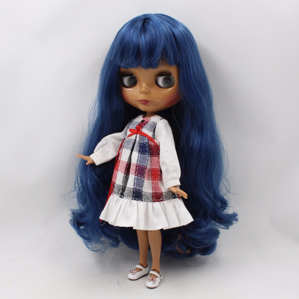 Neo Blythe Doll with Blue Hair, Dark Skin, Shiny Face & Jointed Body 1