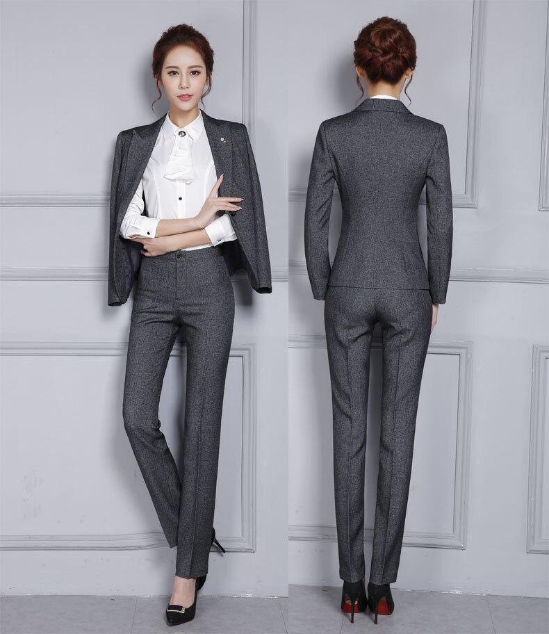 2016 Pantsuits Avec Professionnel Vestes Ensemble Dames Grey Costumes Nouveauté Gris D'affaires Formel Femmes Travail Blazers Et black Pantalons Pantalon 4qgwnw5HY