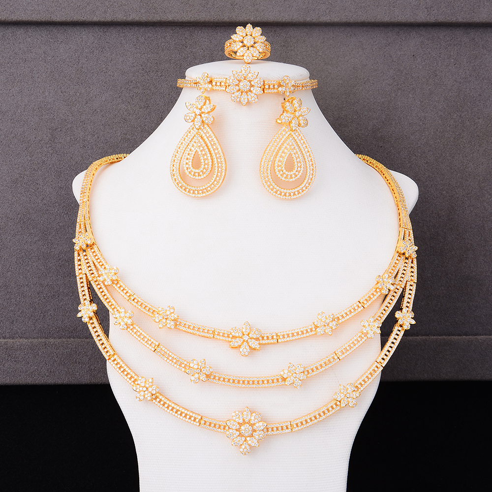 missvikki Elegant Refined Gorgeous 4PCS Earrings Necklace Jewelry Set for Women Romantic Bridal Wedding Engagement Jewelrymissvikki Elegant Refined Gorgeous 4PCS Earrings Necklace Jewelry Set for Women Romantic Bridal Wedding Engagement Jewelry