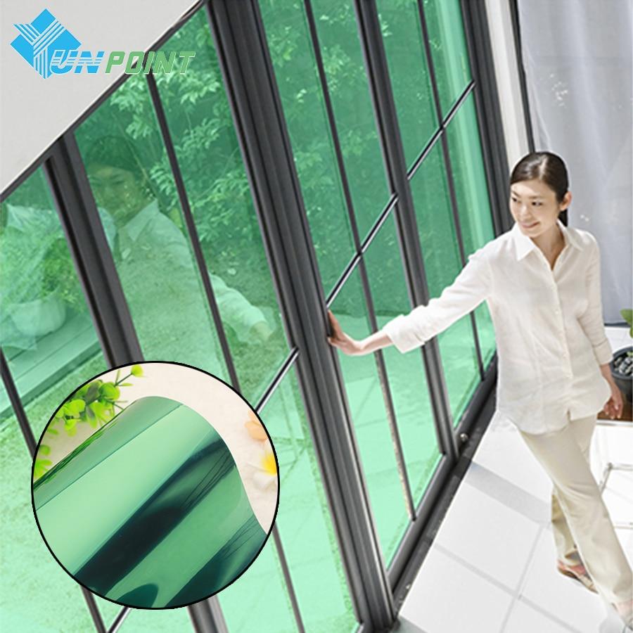 60cmX3m Green Silver DIY Decoration Film Building Glass Window Sun - Home Decor
