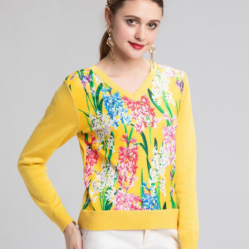 Casual Goodlishowsi Sweater Women Floral Knitting Sleeve Long CCX67Oqw
