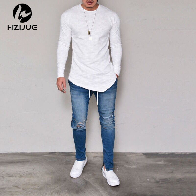 HZIJUE 4 color Solid Cotton T shirt Men Classical Comfortable loose long Sleeve T-shirt Fashion Fitness Basic Undershirt S-XXXL