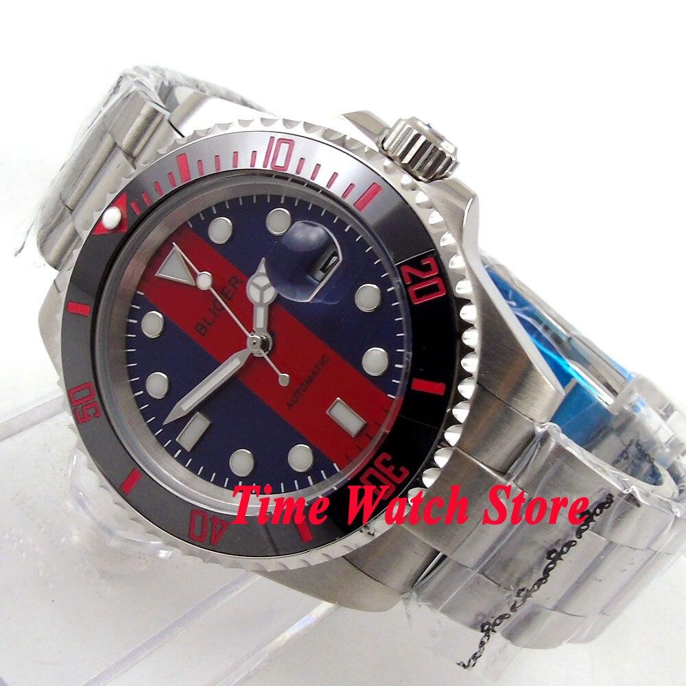 Bliger 40mm blue red dial luminous saphire glass Ceramic Bezel Automatic movement Men's watch BL116 цена и фото