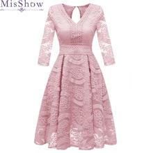 Сладкие коктейльные платья Новые MisShow невесты для свадьбы, банкета розовые кружевные короткие платья для выпускного вечера размера плюс вечерние платья с открытой спиной