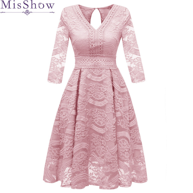 2019 Sweet Cocktail Dresses New MisShow Bride Married Banquet Pink Lace Short Prom Dress Plus Size Backless Party Formal Dresses