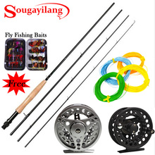 Sougayilang 2.7M Carbon Fly Fishing Rod with Metal Fly Reel Combo 4 Section Fly Fishing Rod and Fly Wheel Line Lures Combo Kit