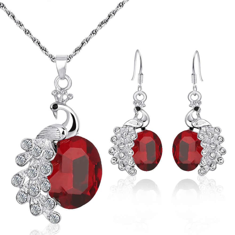 Top Qualität Elegante luxus neue mode Silber überzogene bunte Österreichischen kristall Halskette Ohrringe Armband schmuck sets frauen