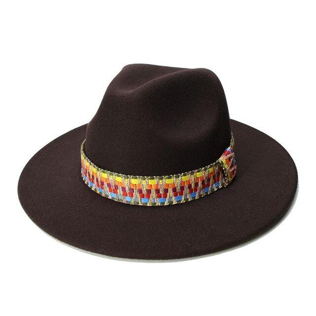 Luckylianji Retro Wanita Pria Antik 100% Wol Lebar Pinggiran Topi Fedora  Panama Jazz Bowler Topi de593552d0