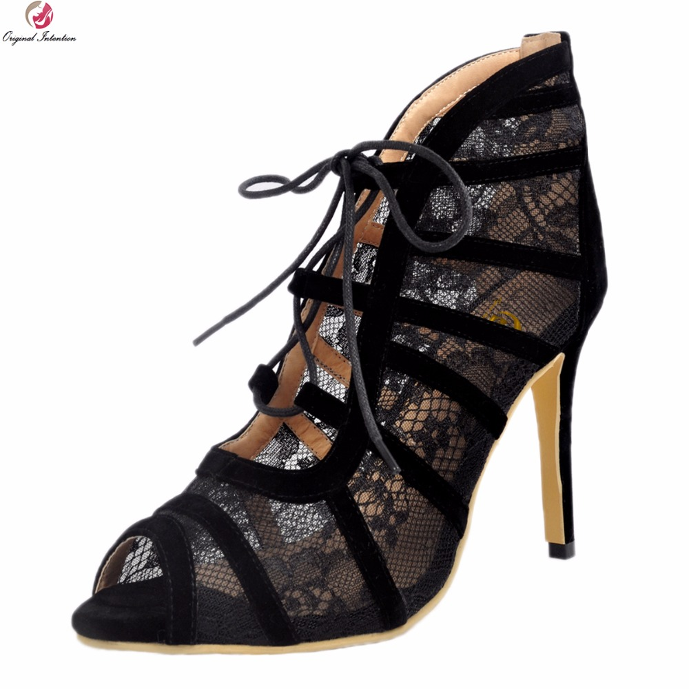 Original Intention New Gorgeous Women Sandals Elegant Lace Open Toe Thin High Heels Sandals Black Shoes Woman Plus US Size 4-15 new high quality women sandals pu leather sexy open toe thin heels party sandals black shoes woman plus size 4 15 customizable