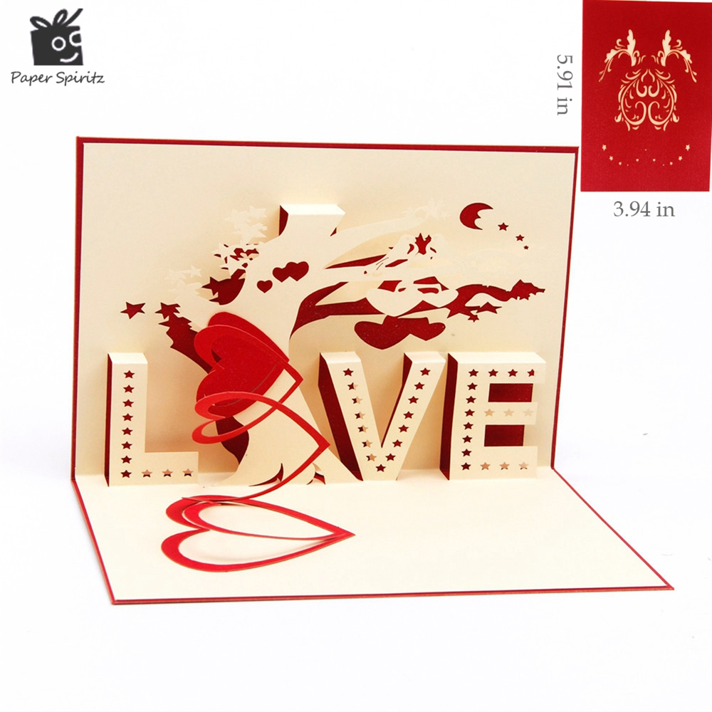Heart & Tree laser cut origami paper 3D Pop UP Cards With LOVE Greeting Cards post cards Valentine's Day gifts arts and crafts 3d pop up the god of wealth creative gifts for birthday post card greeting cards holiday 1411r