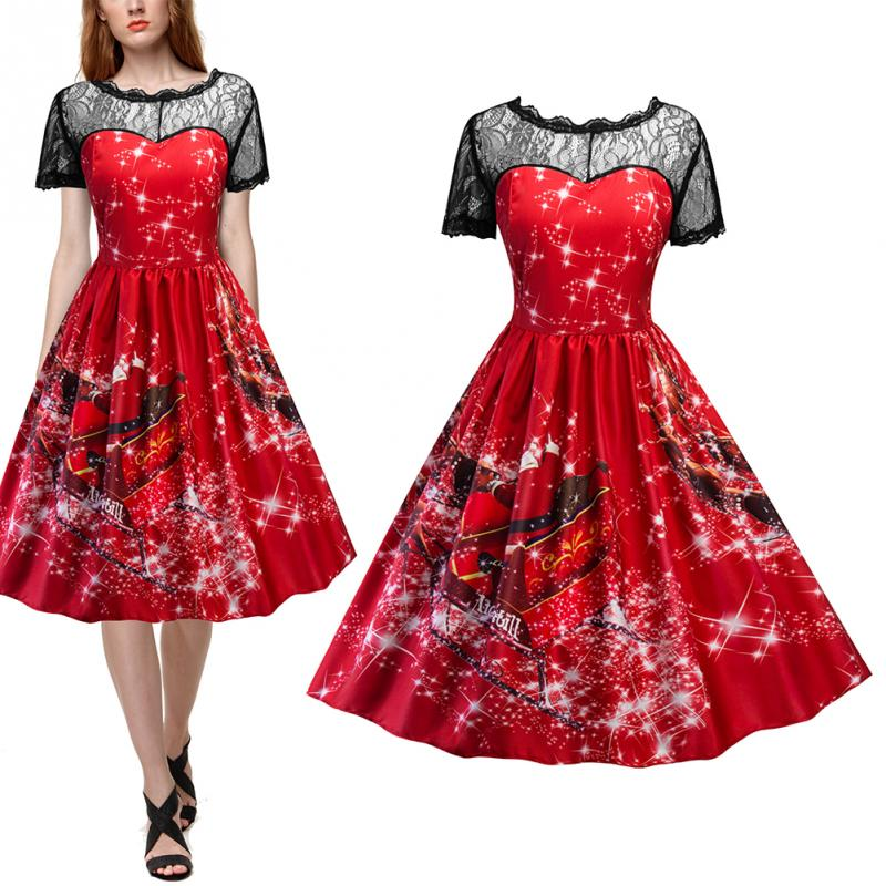 fa016896888d 2018 Christmas Red Dress Women Fashion Plus Size Dressing Fair Lady Lace  Panel Father Christmas Midi Party Dress