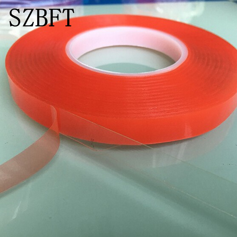 SZBFT 20mm*50M Strong pet Adhesive PET Red Film Clear Double Sided Tape No Trace for Phone LCD Screen free shipping 2mm 50m strong acrylic adhesive red film clear double sided tape sticker for mobile phone lcd pannel display screen hot sale
