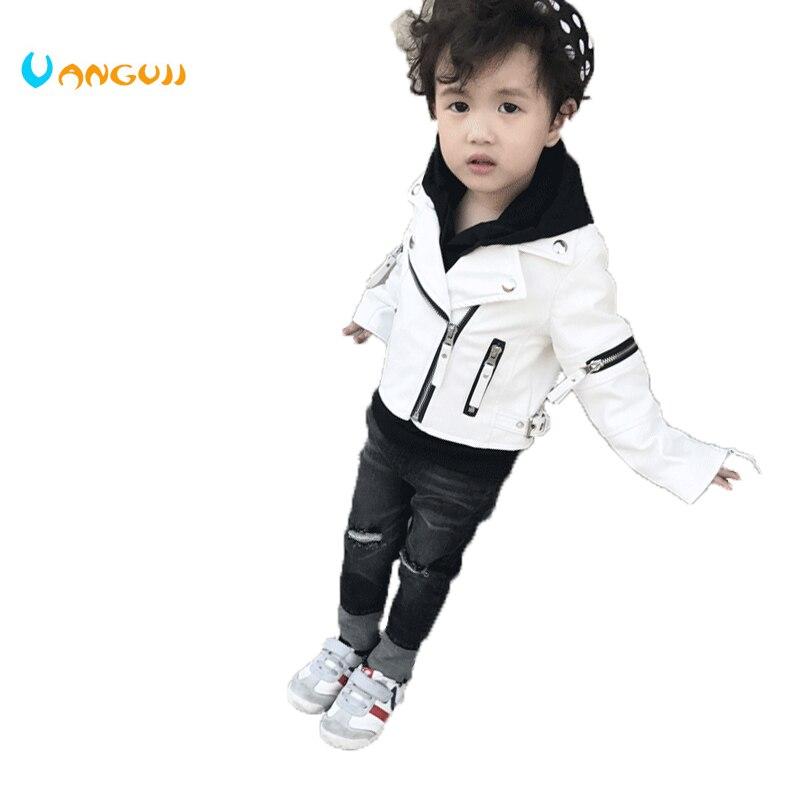 Весенняя куртка для мальчиков Дети от 1 до 7 лет куртки для мальчиков из искусственной кожи Куртка манжеты на молнии универсальные мотоцикле...