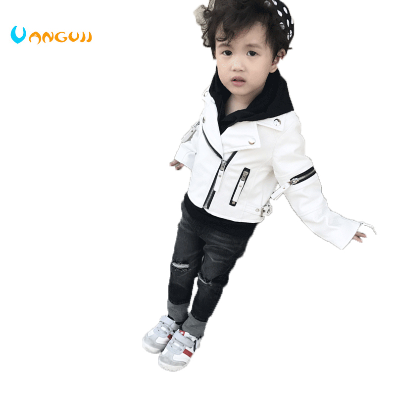 boys spring jacket children 1-7 years old boys jackets fashion PU jacket cuff zipper all-match motorcycle leather kids jackets