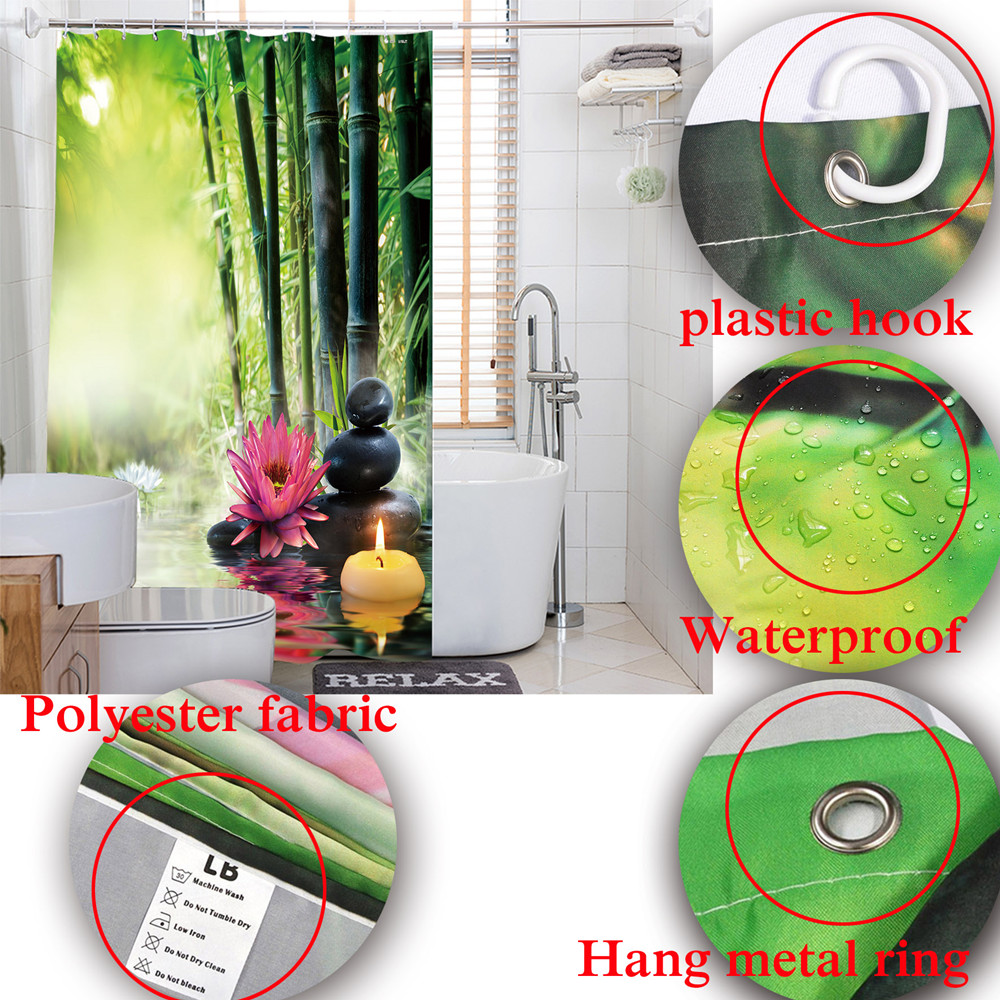 Tropical Forest Cannabis Leaves Green Bathroom Shower Curtain Waterproof Polyester 12 Hooks Bath Curtains Accessory Set In From Home