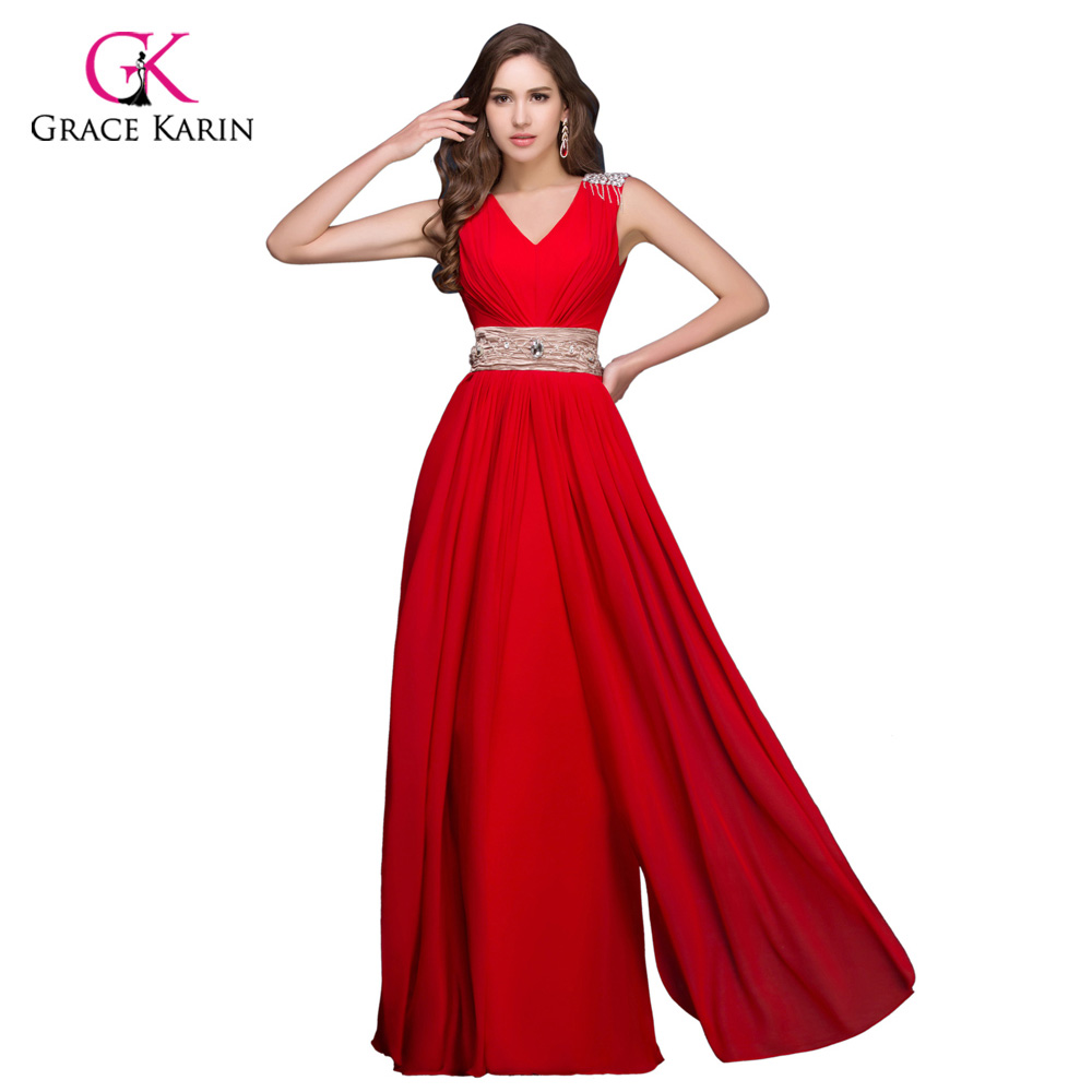 Grace Karin Evening Dresses Long Turquoise Red Robe de Soiree Beaded Formal Dress Korean Design Long Evening Gowns Party Dresses