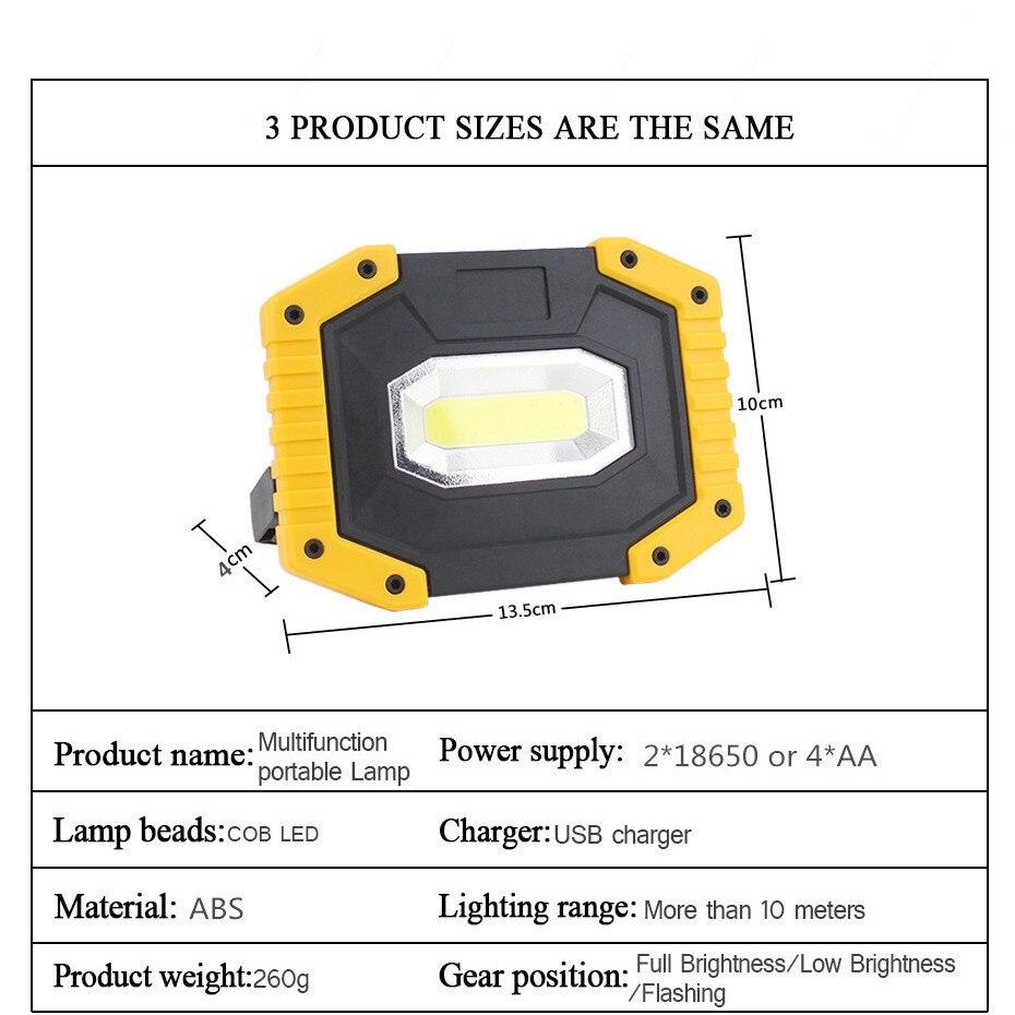 Camping Light Lantern USB Rechargeable Led Portable Lantern 20W Lampe Camping Outdoor 18650 Lantern Linterna Cob Work Light Lamp