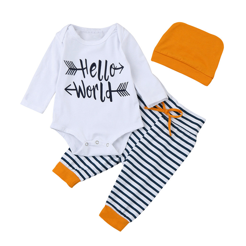 23f1e3c2b49 Winter warm baby clothes Newborn Infant Baby Girl Letter Romper  Tops+Striped Pants Hat 3PCS