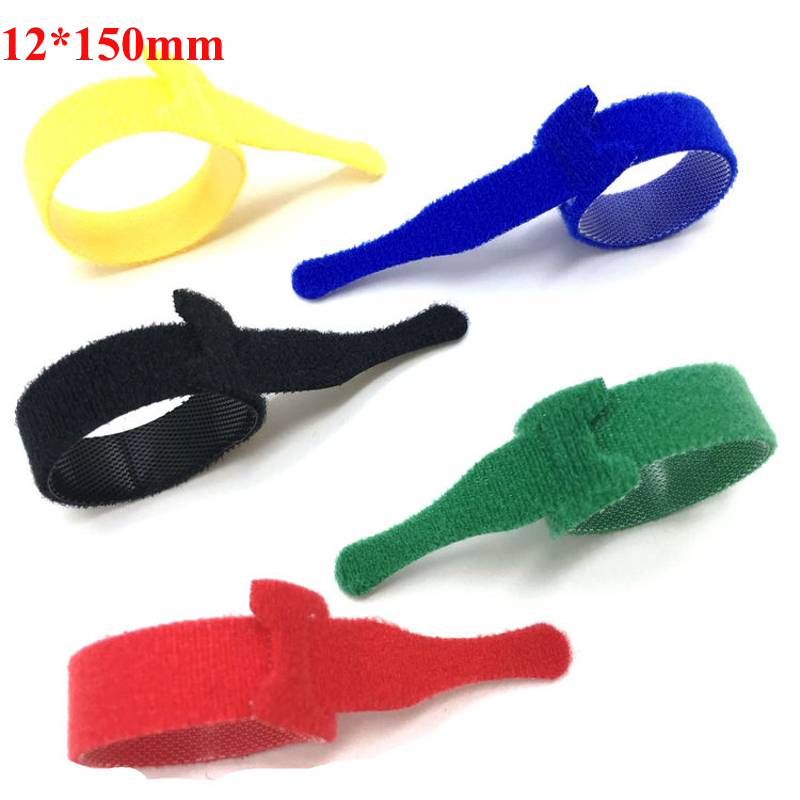 10Pcs 12*150mm Back To Back Cable Ties Reusable Wiring Harness Cord Self Adhesive Fastener Black Green Red Blue