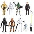 8pcs/lot Star Wars Darth Maul Darth Vader Master Yoda Doll Luke Skywalker Stormtrooper Action Figure Model Toys