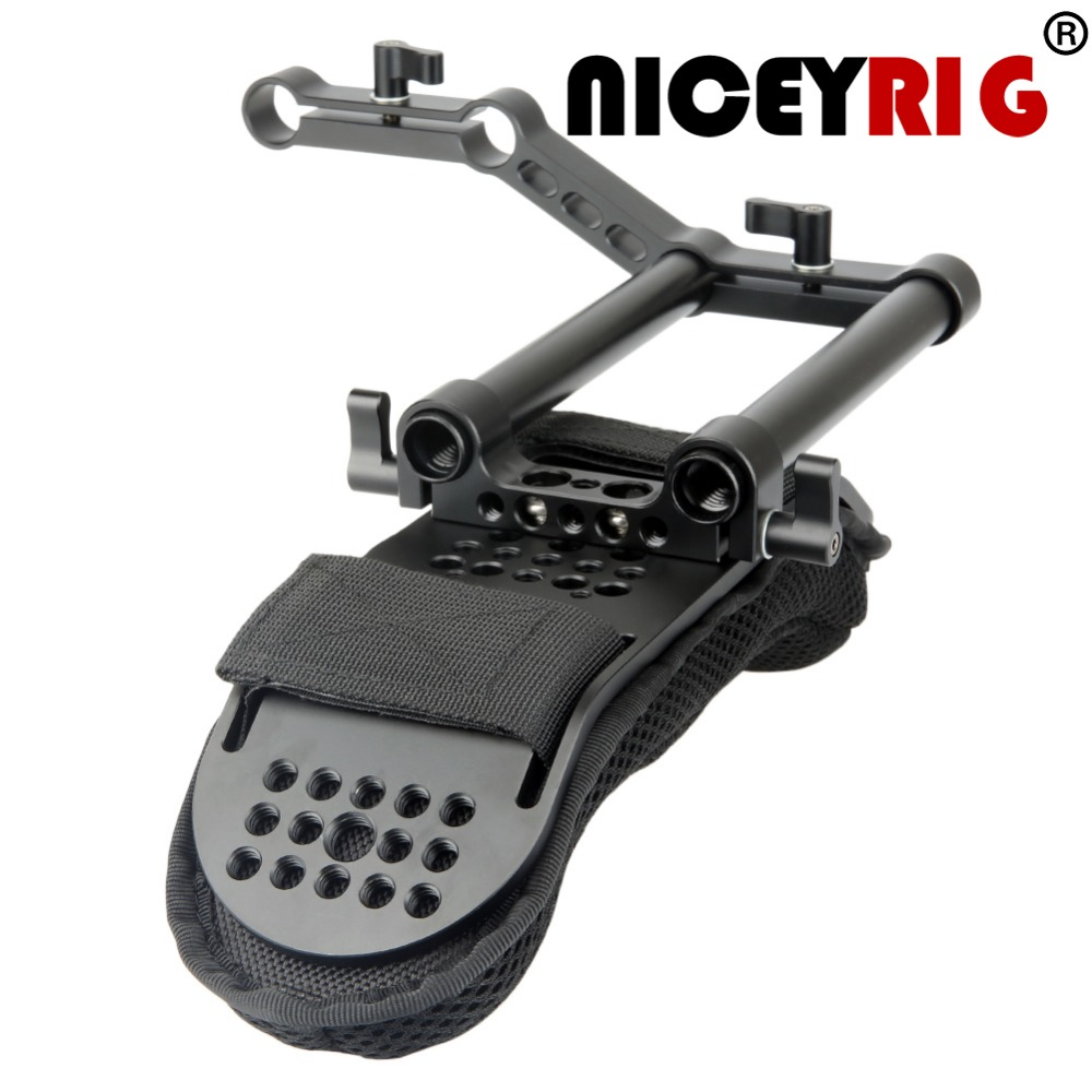 NICEYRIG DSLR Camera dslr Camcorder Shoulder Rig Steadycam Video Camera Shoulder Pad with Rail Riser 15mm
