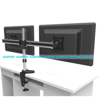 Full Motion Rotating Dual Screen LED LCD Monitor Holder Desktop Clamping Grommet Mounting Arm Bracket