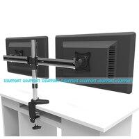 Full Motion Rotating Dual Screen LED LCD Monitor Holder Desktop Clamping Grommet Mounting Arm Bracket