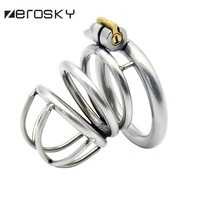 304 Stainless Steel 3 Size Bird Cock Cage Lock Adult Game Metal Male Chastity Belt Device Penis Ring Sex Toys For Men Zerosky