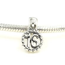 7d136c107 Fits Authentic Original Pandora Charms Bracelet 925 Sterling Silver Sweet 16  Dangle Charm Pendant DIY Jewelry Making for Women