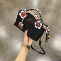 2017 Fashion Spring Women Shoulder Bags Leather High Quality Messenger Bag Boston Flowers Handbag Cross Body Bags 2016 Purse