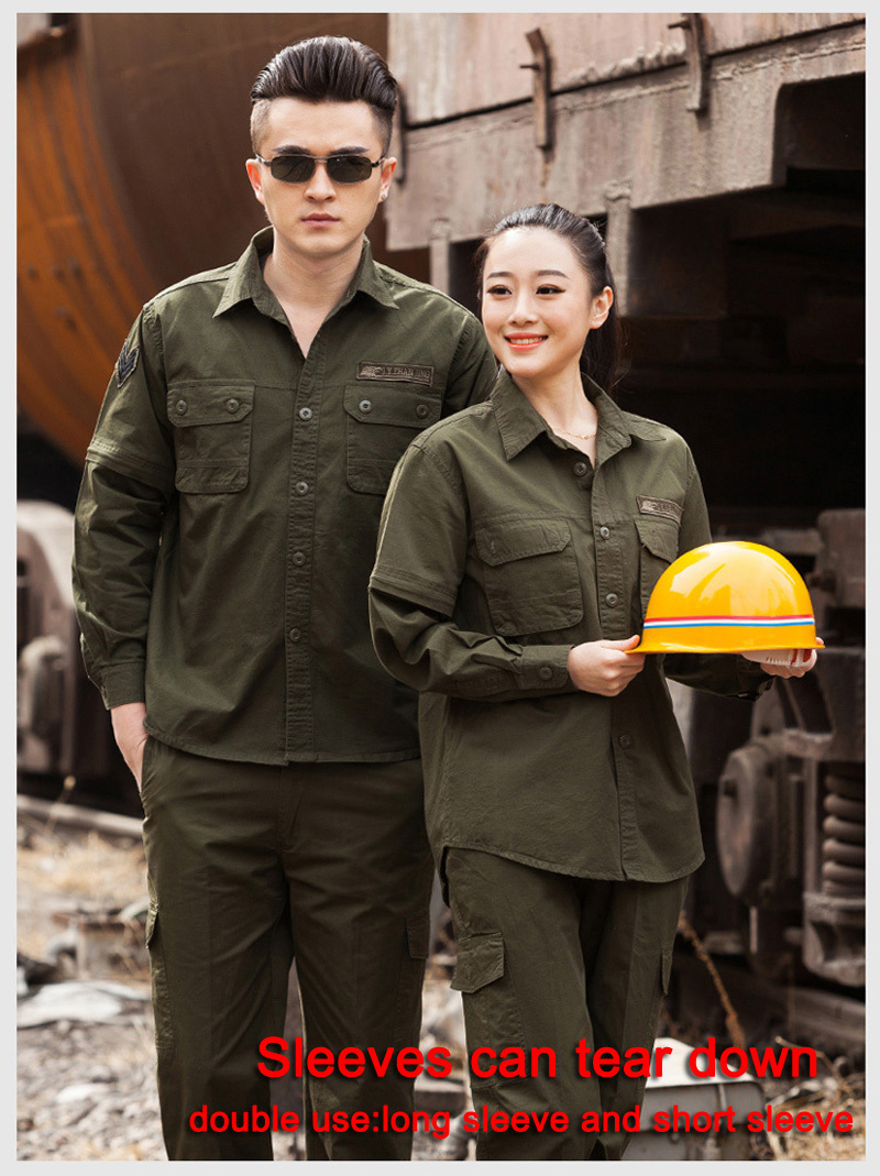 ФОТО Sleeves can tear down big size men women Coveralls Factory Uniforms Safety Workwear Labor Working clothes Suit Sets wholesale