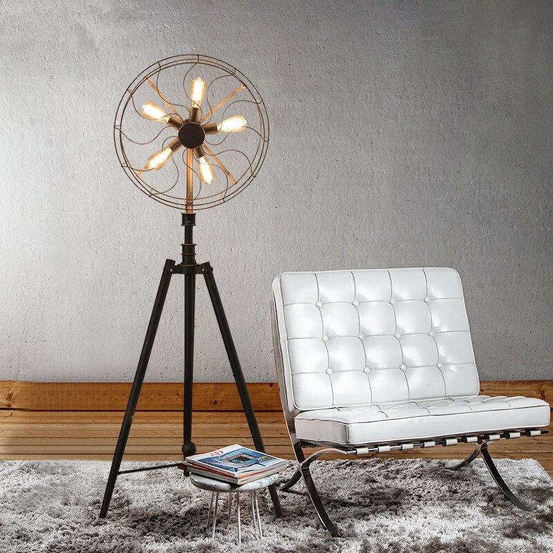 American Village estilo retro industrial viento salón dormitorio de la luz creativa luz decorativa estilo ventilador Lámparas de pie