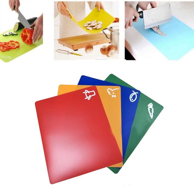 4 PCS Classification Chopping Block PP Anti-slip Rectangle Cutting Board 3