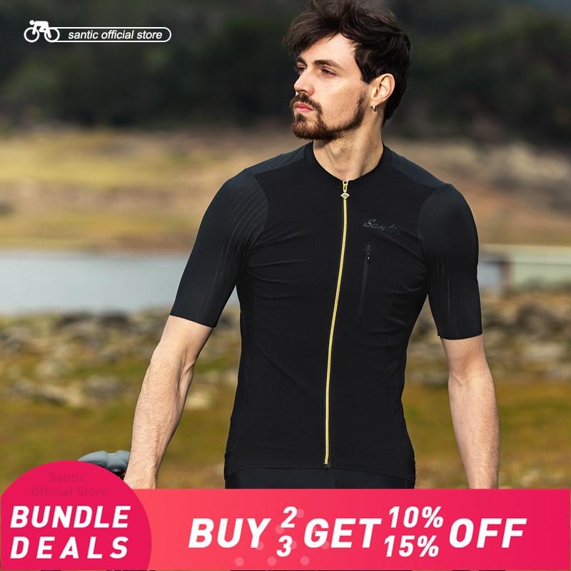 Santic Men Cycling Short Sleeve Jersey Pro Fit Imported Italian Fabric Cuffs MTB Road Bike Pro
